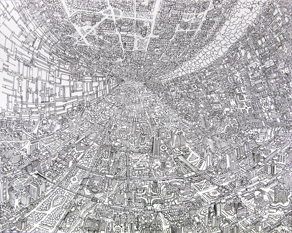 ハイブリッドテクニカだけで描かれるリアルな空想都市  表現の