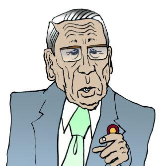 綿貫民輔 似顔絵 イラスト  特に、「いい顔」の先生は、描いていておもしろい。 最近、テレビで見