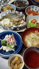鮭の塩麹きのこ焼きの夕食