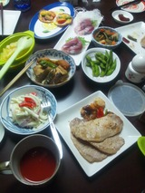 じゃがいもと明太子のホットサラダの夕食