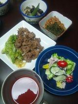 牛肉とレタスのオイスターソース炒めの夕食 823