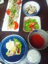 ゴーヤ納豆、ジーマーミ豆腐の夕食