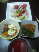 豚しゃぶ肉とアボカドのマリネの夕食819