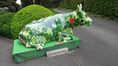 ぶどう園入り口の牛
