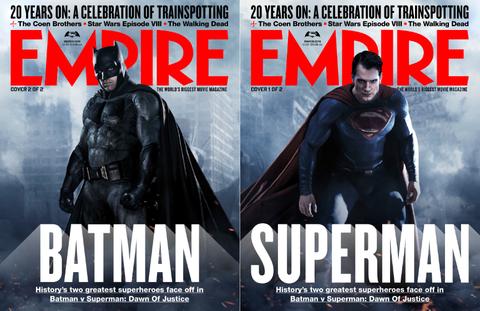 エンパイア誌表紙のバットマンvsスーパーマン