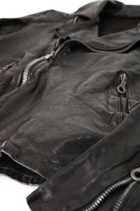 1254-02 イタリアンショルダー製品染めダブルライダース