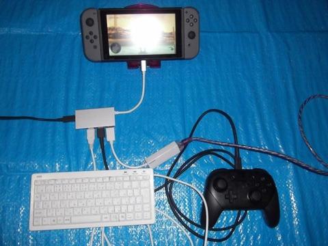 充電しながらキーボードを使えて有線LAN接続でプレイするDQX