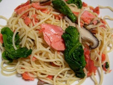 鮭と菜の花のスパゲッティ