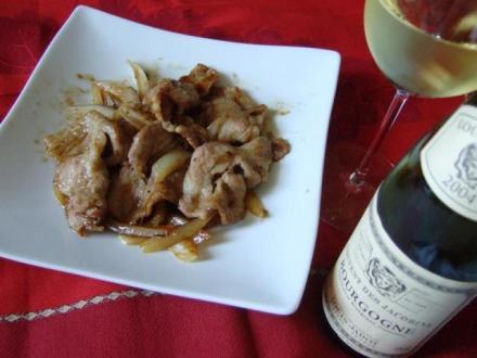 豚生姜焼きとワイン