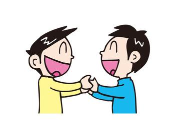 笑顔で手を繋ぐ友人2人イラスト