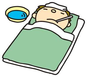 風邪で寝込む男性イラスト