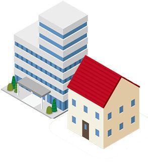 マンションと戸建てイラスト