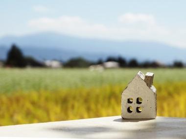草原と家の置物