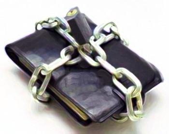 鎖で縛られた財布