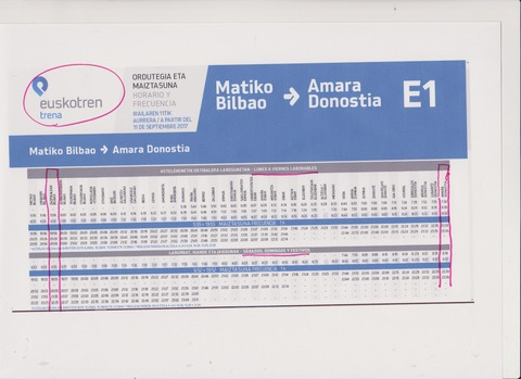 Euskotren時刻表例201709