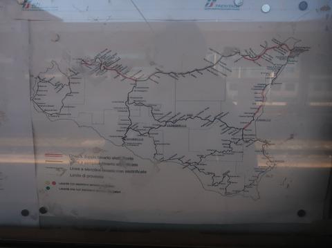 シチリア島内鉄道路線図Sep2018