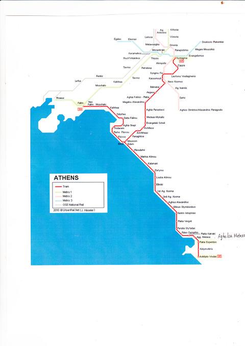 アテネLRT市電路線図2020