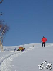 スキーシューに悪戦苦闘