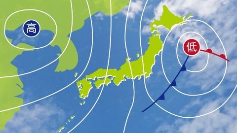 暴風の原因は、急速な発達する低気圧のせい