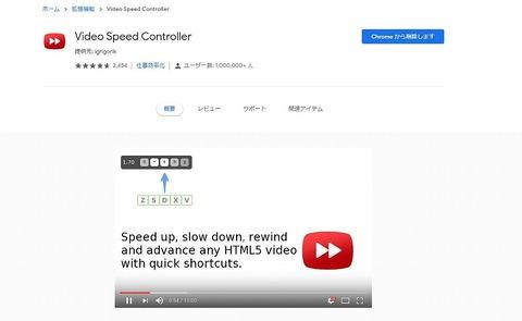 拡張機能ビデオスピードコントローラー