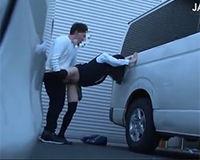 電車でお触りした女子高生を連れ出して駐車場の影でハメる!