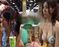 【エロ動画】巨乳の水着女子を誘ってホテルで3P!