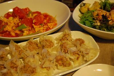焼売&トマトと卵の炒めモノ