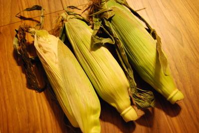 茹でトウモロコシ&豚の生姜焼き