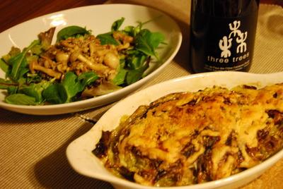春キャベツと合い挽き肉のミルフィーユグラタン&キノコのバルサミコ風味サラダ
