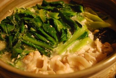 小松菜と豚バラの白胡麻豆乳鍋
