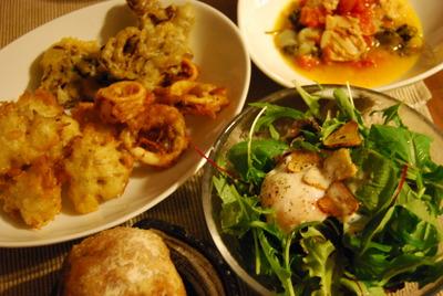 シラスとイカと舞茸のフリット&トマトとチキンの白ワイン煮込み パセリ風味