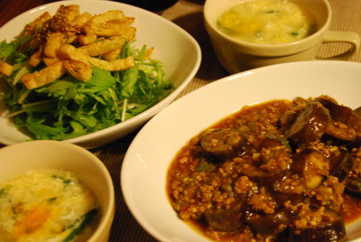 麻婆茄子&水菜と油揚げのサラダ にんにく醤油ドレッシング&ニラ玉スープ(レシピ)