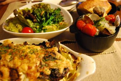 キャベツと合挽肉のミルフィーユ焼き&アサリとプチトマトの白ワイン蒸し
