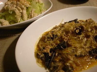 麻婆春雨&キャベツと蒸し鶏のサラダ