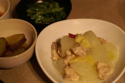 鎌倉野菜・冬瓜と鶏肉の煮物&サツマイモの甘露煮