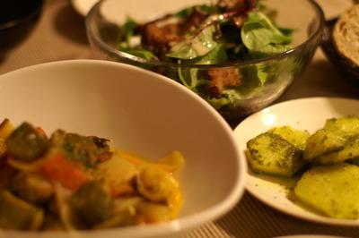カポナータ&ジャガイモのバジルソース