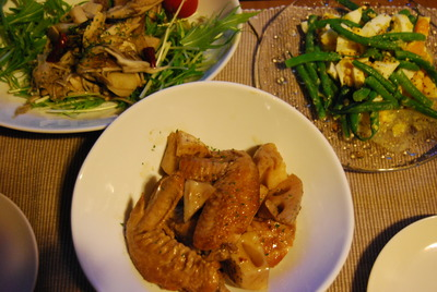 レンコンと手羽先のバルサミコ煮&卵とインゲンのサラダ