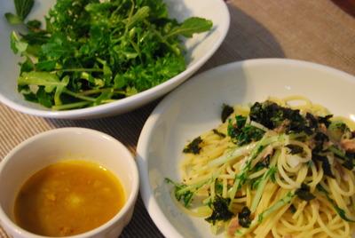 水菜とツナのペペロンチーノ