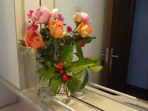 洗面所のバラ