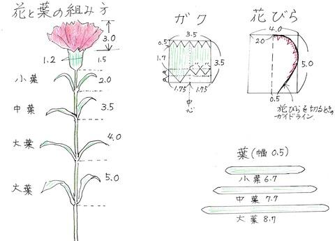 20190911カーネーション型紙と花の組み方