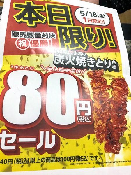 1日限り!なんとファミマの焼き鳥が80円だったから買ってきたで~♪