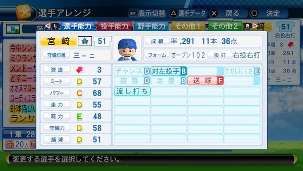 【悲報】De宮崎をパワプロ査定したらなんかキモい【ニュータイプ】