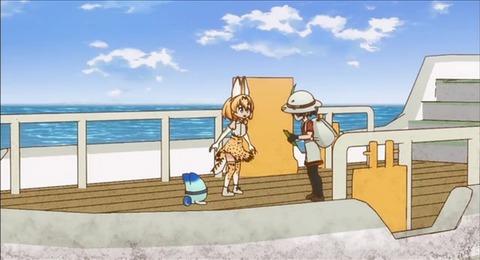 海に到着して舟に乗るカバンちゃんとサーバルちゃん