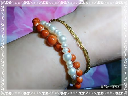 真珠と珊瑚のブレスレット