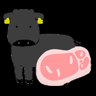 牛と生肉のイラスト