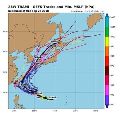 【悲報】猛烈台風24号、急速ターンで日本列島へ接近