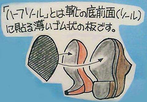 婦人靴 カカトの修理 ハーフソール8