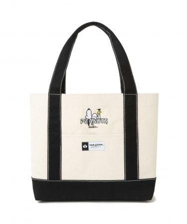 コットン風の厚手生地 スヌーピーの自立するバッグ