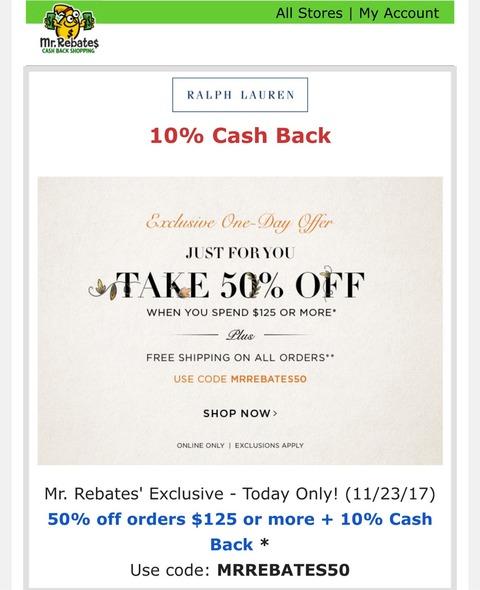 Ralph Lauren 125ドル以上で半額、送料も無料に!さらに10%のキャッシュバック!