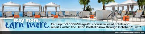 ヒルトンホテルに滞在でユナイテッド航空マイレージプラスのマイルが最大5000マイルもらえるキャンペーン開催中!